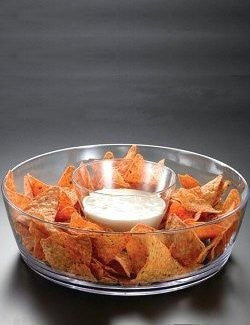 nonbreakable chip and dip serving bowl