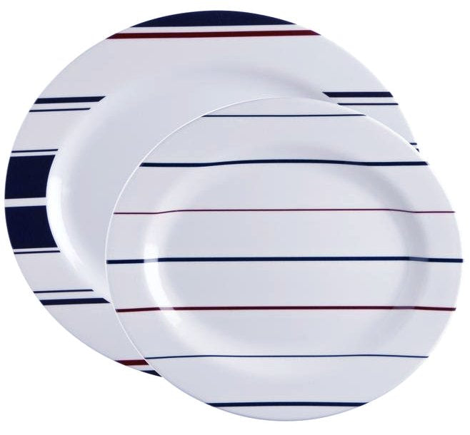 Saint-Tropez Stripe Non-Breakable 2-Pc. Serving Platter Set - Nautical Luxuries