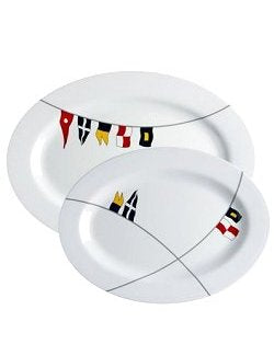 Waving Pennants Non-Breakable 2-Pc. Serving Platter Set - Nautical Luxuries