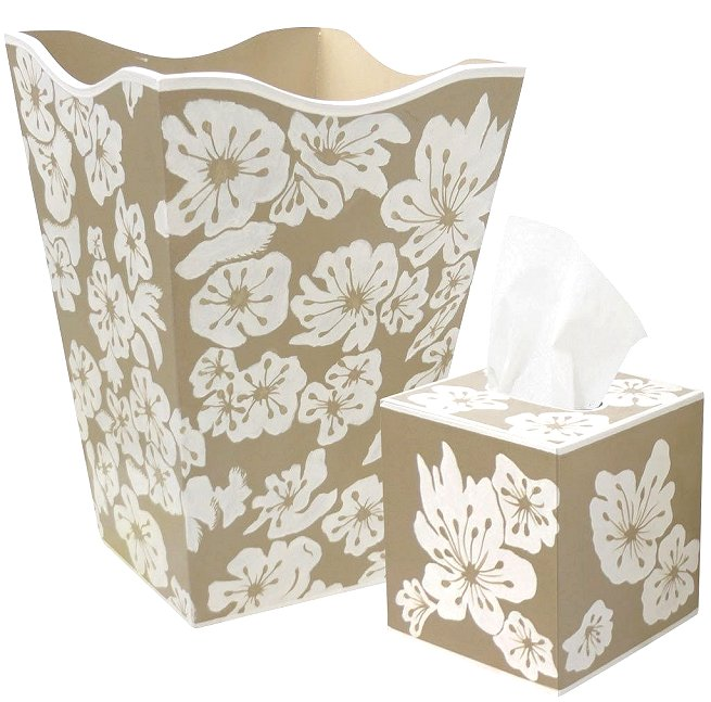 White Tropics Floral Hand-Painted 2-Pc. Bath Set