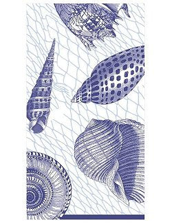 Luxury Disposables Guest Towels/Blue Shells - Nautical Luxuries