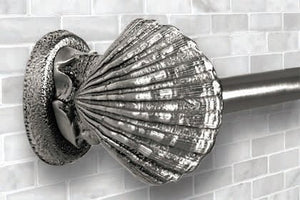 Classic Metal Scallop Shell Towel Bar - Nautical Luxuries