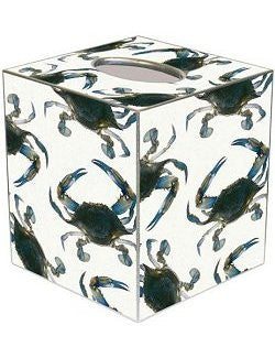 Blue Crabs Decoupage Wood Tissue Box - Nautical Luxuries