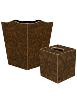 Lustrous Burlwood Decoupage Bath Set - Nautical Luxuries