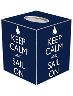 Keep Calm Decoupage Wood Tissue Box - Nautical Luxuries