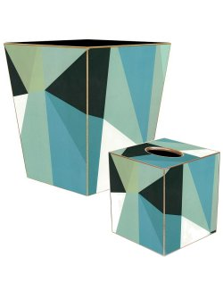 Coastal Geometrics Decoupage Bath Set
