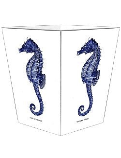 Indigo Seahorse Decoupage Wood Wastebasket - Nautical Luxuries