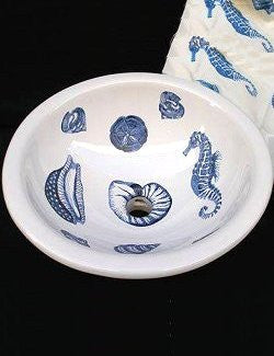 Hand-Painted Blue Sea Life Coastal Sink - Nautical Luxuries
