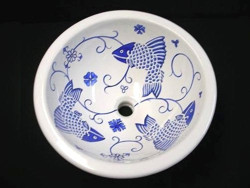 Old Delft Blue Fish Design Coastal Sink