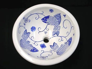 Old Delft Blue Fish Design Coastal Sink - Nautical Luxuries