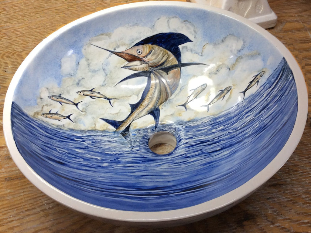 Hand-Painted Leaping Marlin Coastal Sink