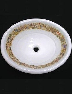 Hand-Painted Seashell Bounty Coastal Sink - Nautical Luxuries