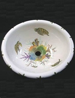 Hand-Painted Sea Turtles Coastal Sink