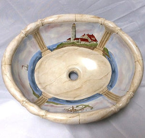 Hand-Painted Lighthouse Nautical Sink - Nautical Luxuries
