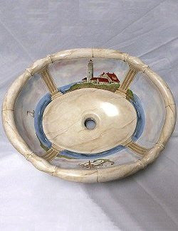 Hand-Painted Lighthouse Nautical Sink