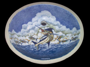 Hand-Painted Leaping Marlin Coastal Sink - Nautical Luxuries
