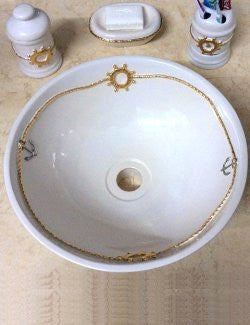 Platinum & Gold Nautical Relief Design Sink - Nautical Luxuries