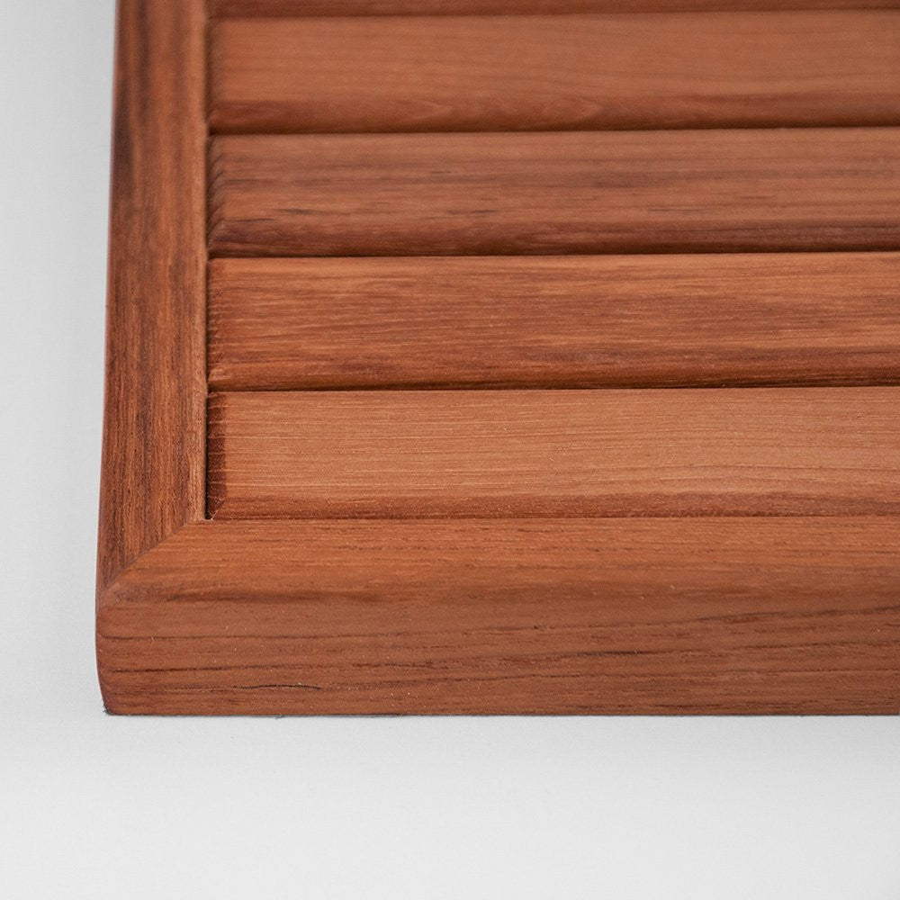 Narrow Framed Teak Slat Floor Mat