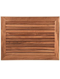 Wide Full-Framed Teak Slat Floor Mat