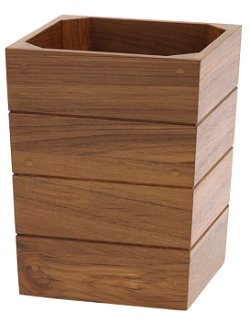 Yachting Teak Collection Solid Wood Wastebasket - Nautical Luxuries