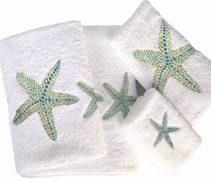 Sea Gem Starfish Embroidered Luxury Terry Towels - Nautical Luxuries