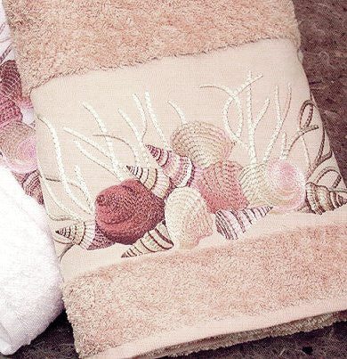Embroidered Pink Shells on Sahara 6-Pc. Towel Set
