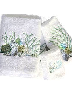 Embroidered Shells And Coral Towels