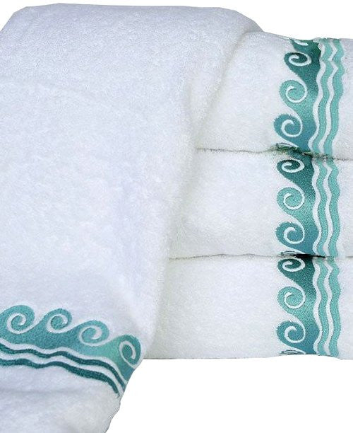 Sea Waves Embroidered Luxury Terry Towels - Nautical Luxuries
