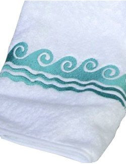 Sea Waves Embroidered Luxury Terry Towels