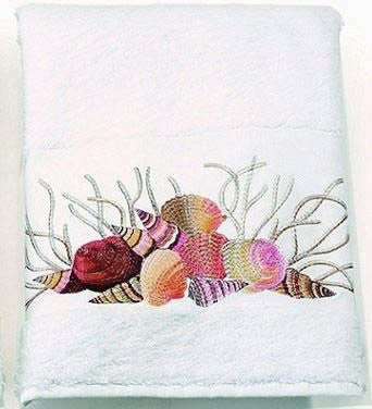 Embroidered Shells And Coral Towels - Nautical Luxuries