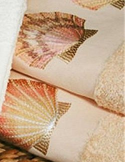 Embroidered Pink Sea Scallop Cornsilk Terry Tip Towel Set - Nautical Luxuries