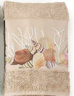 Embroidered Pink Shells on Sahara 6-Pc. Towel Set - Nautical Luxuries