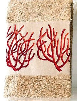 Embroidered Red Coral On Sahara Cotton Terry Towels