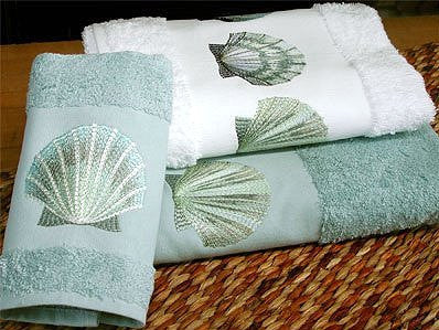 Embroidered Sea Scallop Towels - Nautical Luxuries