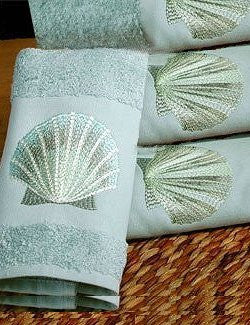 Embroidered Blue Sea Scallop Dusty Blue Terry Hand Towel - Nautical Luxuries