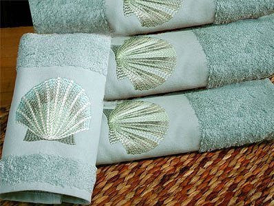 Embroidered Blue Sea Scallop Dusty Blue Terry Hand Towel