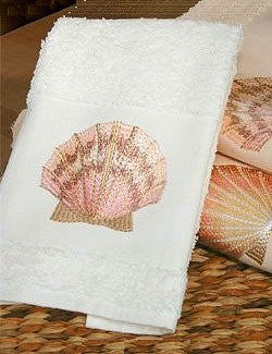 Embroidered Sea Scallop Towels