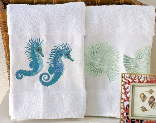 Embroidered Seahorse And Nautilus Towels
