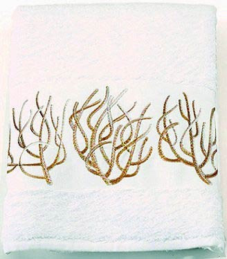 Luxury Plush Embroidered Coral Towels & Mats