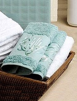Embroidered Blue Coral Dusty Blue Tip Towel Set - Nautical Luxuries