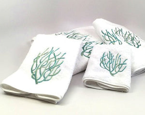 Luxury Plush Embroidered Coral Towels & Mats - Nautical Luxuries
