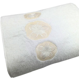 Sanibel Island Embroidered Sand Dollar Towels - Nautical Luxuries