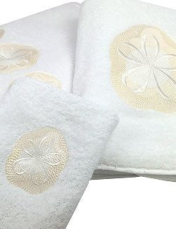 Sanibel Island Embroidered Sand Dollar Towels
