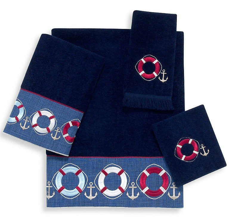 Nautical Flags Bath Towels: Nautical Life Ring Bath Towel Sets