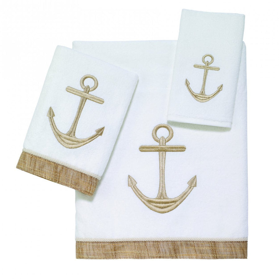 Golden Anchors Embroidered Towels - Nautical Luxuries