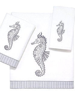 Platinum Seahorses Embroidered Towel Sets