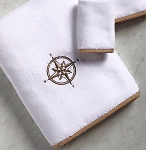Bias Trim Embroidered Compass Rose Towel Set - Nautical Luxuries