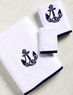 Bias Trim Embroidered Anchor Towel Set - Nautical Luxuries