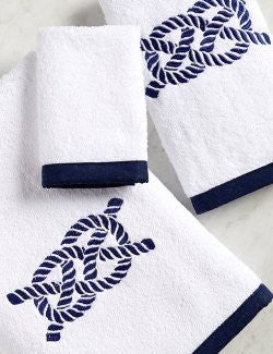 Bias Trim Embroidered Nautical Knot Towel Set - Nautical Luxuries