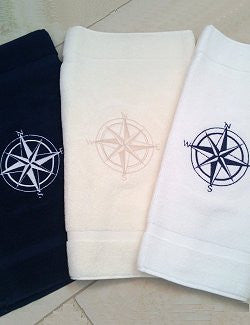 Embroidered Compass Rose Terry Bath Mats - Nautical Luxuries